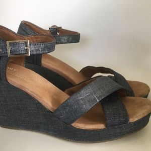 TOMS SIENNA Metallic Silver Blue Denim Ankle Strap